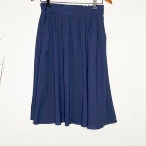 Mod cloth pleated midi skirt pockets navy blue M